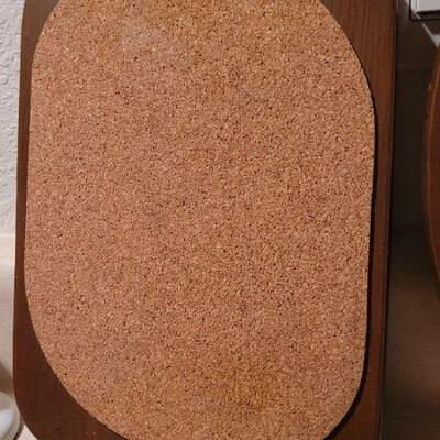 Lot 2: Vintage Cork Top Wood Platters x 3