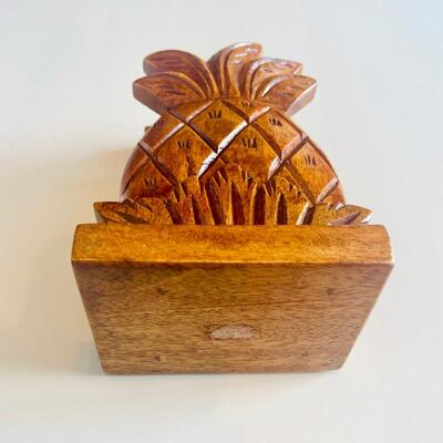 Handcrafted Wood Pineapple Napkin Holder