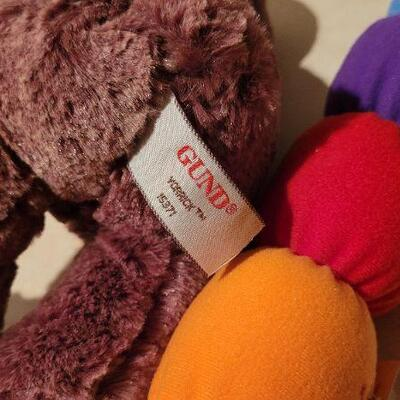Lot 33: GUND Baby Squeeze and Light Color Worm + New YORRICK Plush Bear