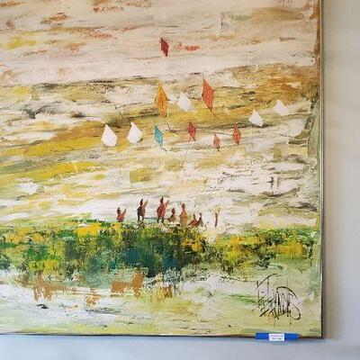 LOT 446 Painting of Kids Flying Kites