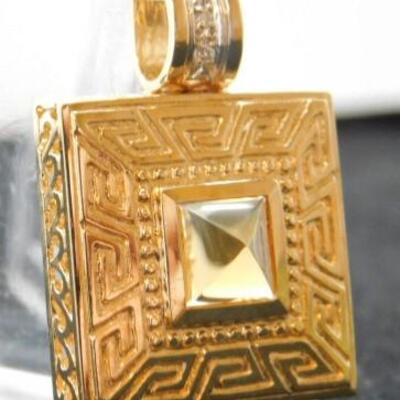 14 KT Gold Greek Key Pendant with Citrine Stone Setting and .04 ctw Diamonds 8.2 grams