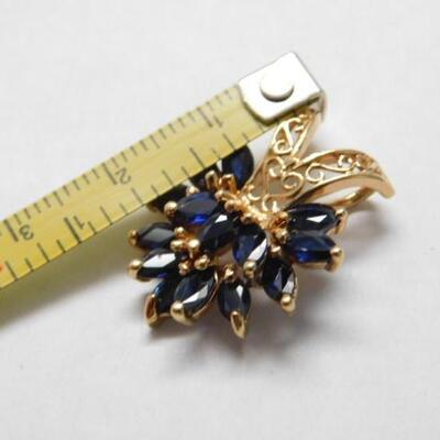 14 KT Gold Marquise Cut Blue Sapphire Slide Pendant 4.1 grams