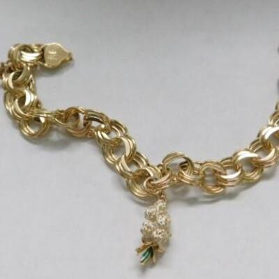 14 KT Triple Link Gold Charm Bracelet with Floral Bouquet and Flower Charms 14 grams