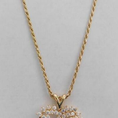 14 KT Gold Heart Pendant Accented by Cubic Zirconia with 24