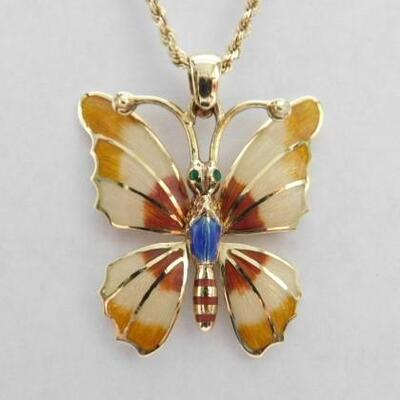 14 KT Gold Enamel Butterfly Pendant on 14KT 30
