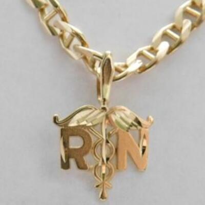 14 KT Gold Registered Nurse Pendant on 14KT Gold 20