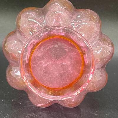FENTON CRANBERRY PINK GLASS PERFUME WITH STOPPER