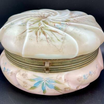 C F Monroe Swirl Top Satin Glass Art Nouveau Trinket Powder Box