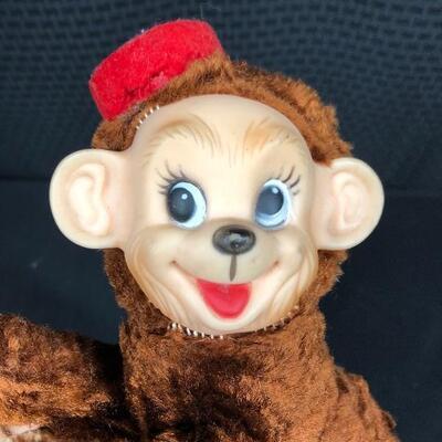 Vintage Rushton Star Creation Rubber Faced Plush Organ Grinder Monkey