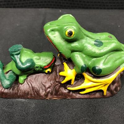 Vintage Mechanical Painted Cast Iron Frog Toad Coin Bank