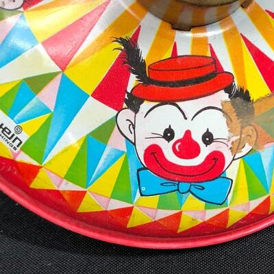 Vintage Chein Playthings Metal Tin Clown Litho Spinning Top