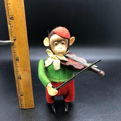 Vintage Schuco Monkey Playing the Violin Figurine Wind Up Toy Germany
