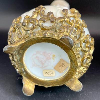 Antique Wave Crest CF Monroe Pink Floral Satin Glass Bud Vase Ormolu