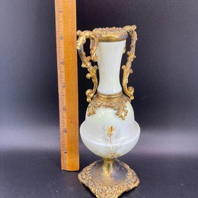 Antique Wave Crest Art Nouveau Satin Art Glass Urn Vase Ormolu