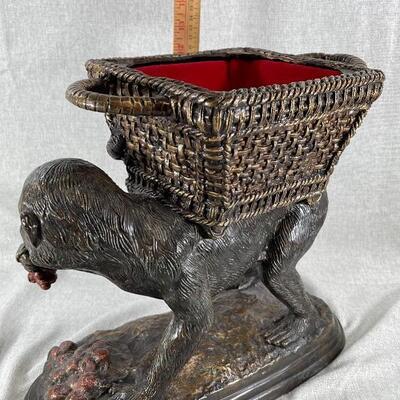 Maitland Smith Monkey Carrying Basket Lidded Planter Statue Cast Iron Bronze