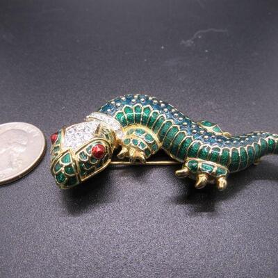 Vintage KJL Kenneth Jay Lane Green Enamel Rhinestone Lizard Reptile Gecko Pin Brooch