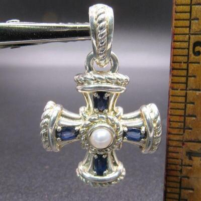 Sterling Silver 925 Judith Ripka Necklace Enhancer Pendant Cross Sapphire Faux Pearl