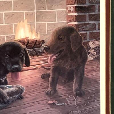 Lot 3 - Randy McGovern Lab Puppies Framed Print