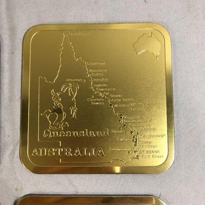 Lot 16 - Gold Plated Australian Coasters