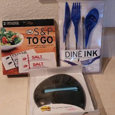 Lot 100: New Office Kit - Post It Dispenser, Salt and Pepper, DINE IN SET