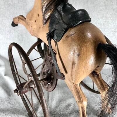 Small Decorative Rustic Victorian Horse Ride On -- Doll Size