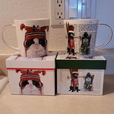 Lot 109: New Coffee Cups Cat Theme Christmas x 2