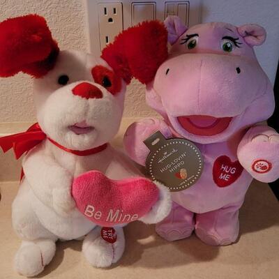 Lot 116: New Plush Retired x 2 - HALLMARK Hug Lovin Hippo (needs batteries) + Be Mine Dog Plush (Works)