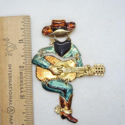 Cowpoke Guitar Player Pin - Signed Don Lin