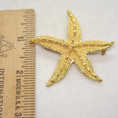 Golden Starfish Brooch