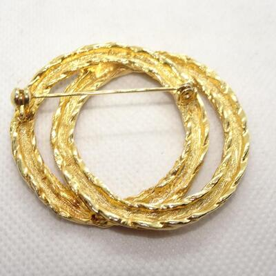 Double Circle Gold Tone Brooch