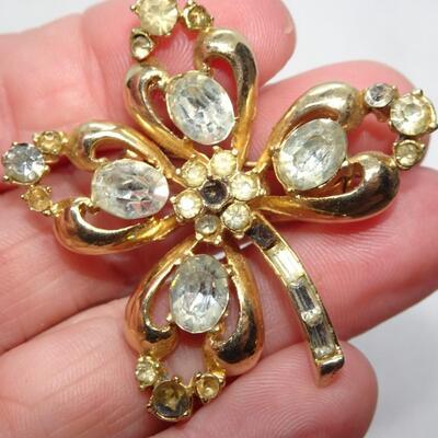 Gold Tone Rhinestone Pin - missing stones