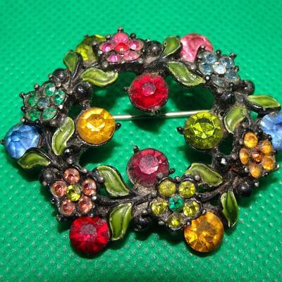 Sweet Colorful Rhinestone & Enamel Flower Brooch