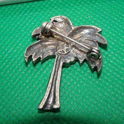 Vintage Silver Tone Rhinestone Palm Tree Brooch Pin