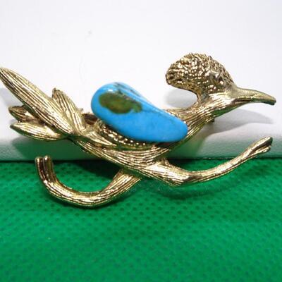 Gold Tone & Turquoise Road Runner Pin - Beep Beep!