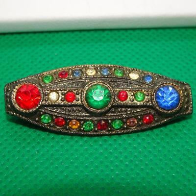 Silver Tone Victorian Collar Pin, Colorful!