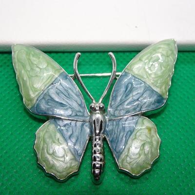 Pretty Enamel Blue & Green Butterfly Brooch