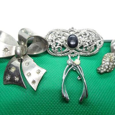 Silver Tone Victorian Brooch Lot- 4 Pins