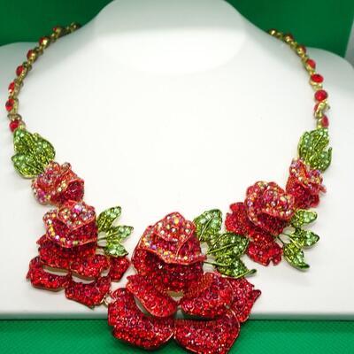 Gold Tone Rose Rhinestone Statement Necklace & Earring Set
