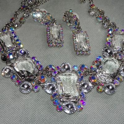 Aurora Borealis Colored Rhinestone Pendant Necklace & Earrings - Prom Jewelry