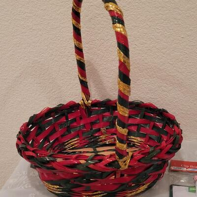 Lot 197: Christmas Basket and Children's Activity Packs, Erasers and Dry Erase Boards