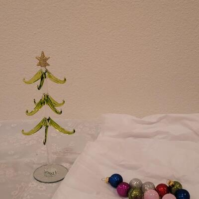 Lot 198: Glass Christmas Tree with Glass Glittery Ornaments