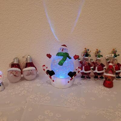 Lot 199: Light Up Christmas Globes and Santa Ornaments