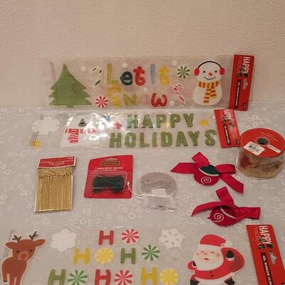 Lot 212: Christmas Window Gels, Ornament Hangers and Ribbon