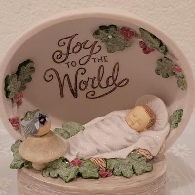 Lot 222: Hallmark light Up Joy to the World and Angel with Lamb