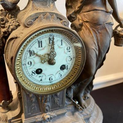#1 Antique French Cast Metal Clock