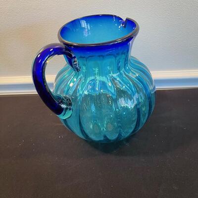 #6 Beautiful Hand Blown Blue Glass Water Pitcher