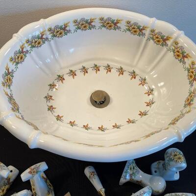 #10 Sunflower Drop in Bathroom Sink W/ Towl Hooks, Door Knob 2 towel rack