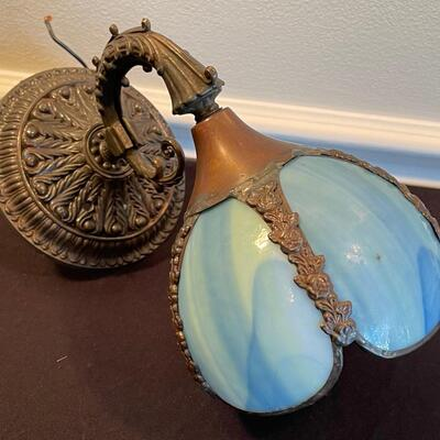 #14 Vintage Blue Slag Glass Wall Sconce