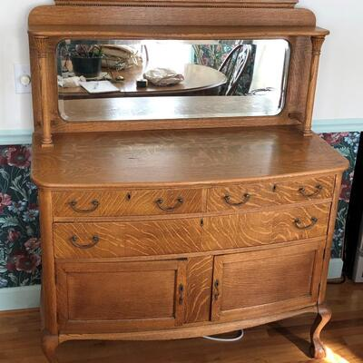 Lot 1 - Antique Oak Buffet with Mirror LOCAL PICK UP ONLY
