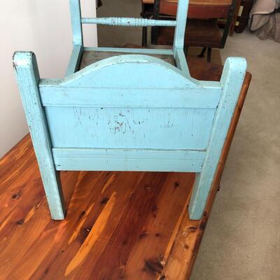 Lot 18 - Antique Blue Doll Bed